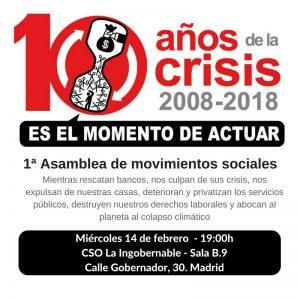 1ª Asamblea de Movimientos Sociales @ CSO La Ingobernable | Madrid | Comunidad de Madrid | España