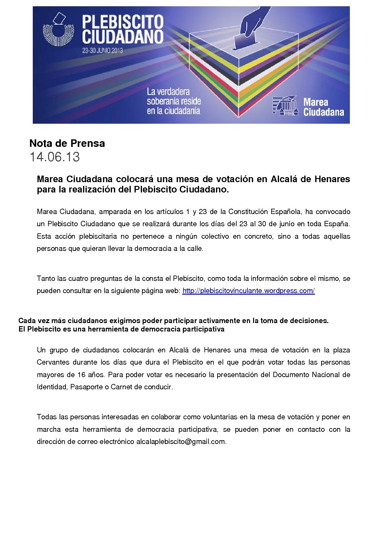 Nota de Prensa-Plebiscito Ciudadano en Alcala