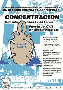Concentración contra la corrupción en el Canal de Isabel II @ Canal de Isabel II | Madrid | Comunidad de Madrid | España