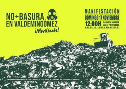 Manifestación 'No + basura en Valdemingómez' @ Desde Calle Real de Arganda con Calle Puentelarra hasta la Junta Municipal