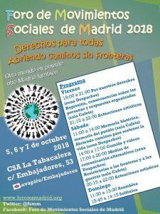 Foro de Movimientos Sociales de Madrid 2018 @ CSA Tabacalera | Madrid | Comunidad de Madrid | España