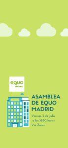 Asamblea virtual EQUO Madrid, viernes 3 de julio @ Vía Zoom