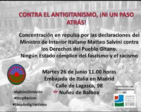 Concentración frente a la embajada de Italia por el discurso de odio antigitano @ Frente Embajada de Italia en Madrid | Madrid | Comunidad de Madrid | España