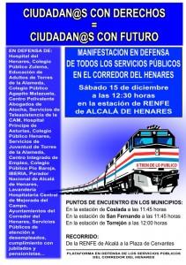 15 de diciembre, 12:30 horas, Manifestacion en defensa de los Servicios Públicos del Corredor del Henares