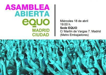 Asamblea EQUO Madrid Ciudad @ Sede EQUO Madrid   Madrid   Comunidad de Madrid   España
