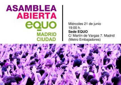EQUO Madrid Ciudad - Asamblea abierta @ Sede EQUO   Madrid   Comunidad de Madrid   España