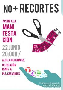 """Manifestación """"No + recortes"""", 22 de junio, a las 20:00 horas en la Estación de Renfe de Alcalá de Henares"""