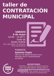 Rivas - Taller de Contratación Municipal @ Pza. Valle Nalón 10 posterior | Rivas-Vaciamadrid | Comunidad de Madrid | España