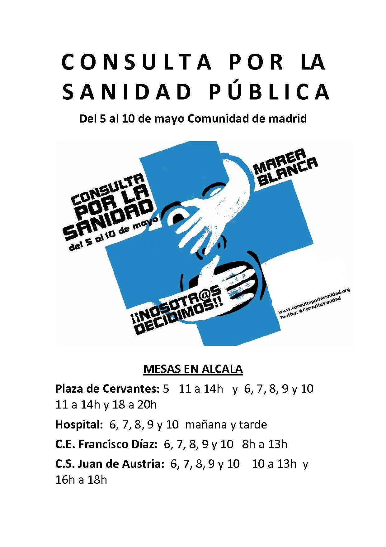 Consulta por la Sanidad Publica- Cumbre Social de Alcala-Mesas