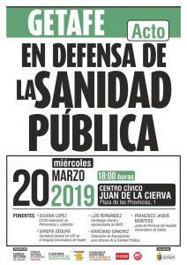 Acto en defensa de la sanidad pública en Getafe @ Centro Cñivico Juan de la Cierva, Getafe