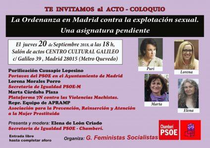 Acto: La ordenanza en Madrid contra la explotación sexual @ C. C. Galileo | Madrid | Comunidad de Madrid | España