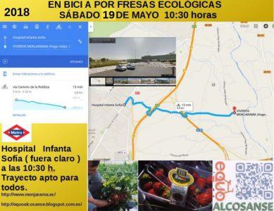 EQUO AlcoSanse: excursión en bici para recoger fresas ecológicas @ Salida desde el Hospital Infanta Sofía | San Sebastián de los Reyes | Comunidad de Madrid | España