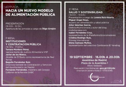 Jornada: 'Hacia un nuevo modelo de alimentación pública' @ Asamblea de Madrid | Madrid | Comunidad de Madrid | España