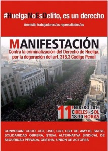 Manifestación contra la criminalización del derecho a la huelga @ Cibeles | Madrid | Comunidad de Madrid | España