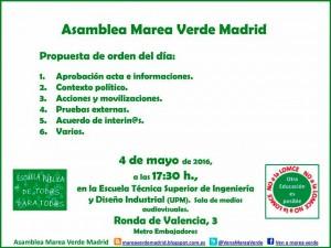 Asamblea Marea Verde Madrid @  Escuela Técnica Superior de Ingeniería y Diseño industrial. UPM | Madrid | Comunidad de Madrid | España