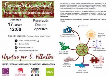 Encuentro municipal en Collado Villalba @ Sala El Capricho, Collado Villalba