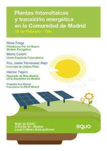 Jornada 'Plantas fotovoltaicas y transición energética en la Comunidad de Madrid' @ Sede EQUO Madrid