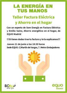 Taller 'Factura eléctrica y ahorro en el hogar' @ Sede EQUO Madrid | Madrid | Comunidad de Madrid | España