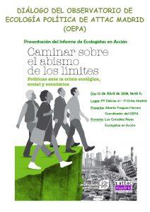 Diálogo: 'Caminar sobre el abismo de los limites' @ Sede de ATTAC Madrid   Madrid   Comunidad de Madrid   España