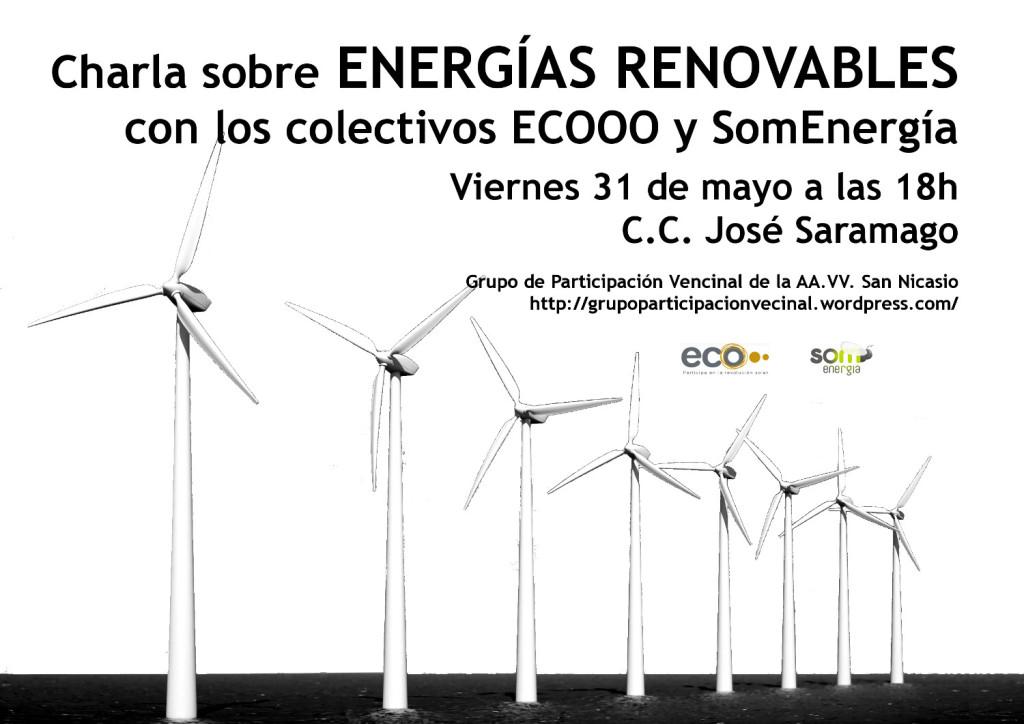 Cartel de la charla sobre energías renovables