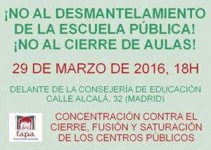 contra el cierre de centros educativos públicos