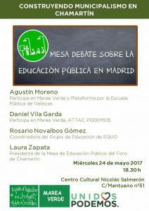 Mesa debate sobre la educación pública en Madrid @ Centro Cultural Nicolás Salmerón | Madrid | Comunidad de Madrid | España