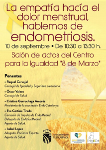 La empatía hacia el dolor menstrual. Hablemos de endometriosis @ Salón de actos del Centro para la Igualdad '8 de Marzo' | Fuenlabrada | Comunidad de Madrid | España