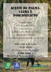Aceite de palma, política de renovables y posconflicto colombiano @ Biblioteca pública Iván de Vargas (calle San Justo, 5) | Madrid | Comunidad de Madrid | España