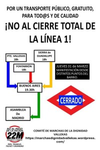 manifestación contra el cierre de la línea 1