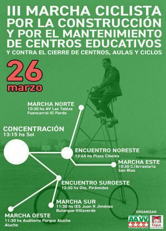 Marchas ciclistas y concentración por los centros educativos públicos @ Madrid  | Madrid | Comunidad de Madrid | España