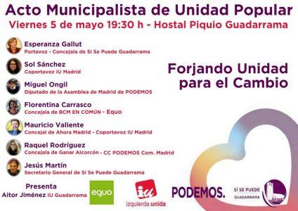 Guadarrama - Acto Municipalista de Unidad Popular @ Hostal Piquio Guadarrama | Guadarrama | Comunidad de Madrid | España