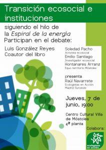 Debate: 'Transición ecosocial e instituciones' @ Centro cultural Villa de Móstoles, 4ª planta | Móstoles | Comunidad de Madrid | España