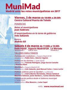 MuniMad - Jornadas de debate para un Madrid municipalista @ Varios espacios | Madrid | Comunidad de Madrid | España