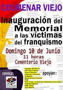 Inuguración del Memorial por las víctimas del Franquismo @ Cementerio de Colmenar Viejo | Colmenar Viejo | Comunidad de Madrid | España