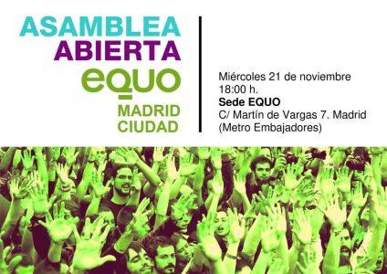 Asamblea EQUO Madrid Ciudad @ Sede EQUO Madrid | Madrid | Comunidad de Madrid | España