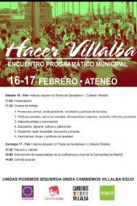 Hacer Villalba. Acuerdo programático municipal @ Ateneo Popular, Collado Villalba