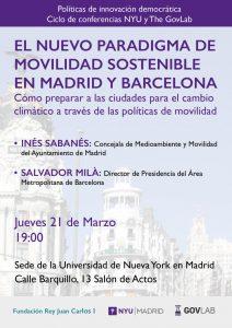 El nuevo paradigma de movilidad sostenible en Madrid y Barcelona @ Sede de la Universidad  de Nueva York en Madrid