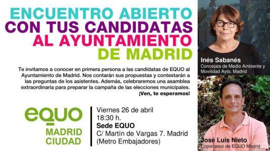 Encuentro abierto con tus candidatas al Ayuntamiento de Madrid @ Sede EQUO