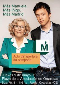 Acto Apertura de Campaña Más Madrid @ Plaza de la Asocación de Orcasitas