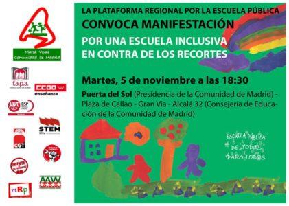 Manifestación por una Escuela inclusiva en contra de los recortes @ De la Puerta del Sol a la Consejería de Educación