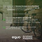 EQUO y Podemos presentan una PNL para fomentar el uso de la bicicleta
